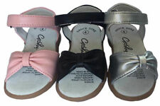Girls Sandals Grosby Bonnie Black,Pink or Silv Hook and Loop Bow Shoes Size 4-12