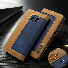 For Samsung Galaxy S6 & S7 Edge Canvas Leather Wallet Card Flip Stand Case Cover