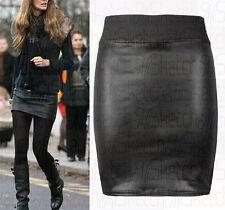 New Women Black PVC Wet Leather Look Mini & Pencil Tube Bodycon Skirt
