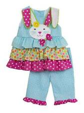 Rare Editions Turquoise Seersucker Bunny Pant Set  2T 3T 4T