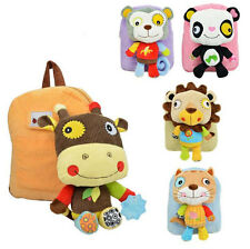 New Girls Boys Kids Children Cartoon Kindergarten Plush Backpack School Bag
