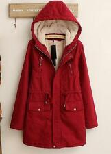 womens Parka outerwear coat Hooded thicken cotton-padded jacket zip winter warm