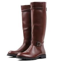 Riding Equestrian Buckle Mens Military Knee High Boots Size US#BLACK/BROWN