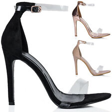 Womens Open Peep Toe Barely There High Heel Stiletto Sandals Shoes Sz 3-8