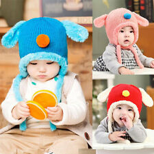 Baby Toddler Winter Warm Cute Doggy Crochet Knitted Earflap Cap Kids Hat