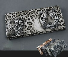 Pop Attractive lady Tiger Leopard Print Long Wallet Purse Coin Bag Card ClutchYT