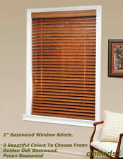 "2"" DELUXE REAL WOOD BLINDS 44 5/8"" WIDE x 24"" to 36"" LENGTHS - 2 WOOD COLORS"