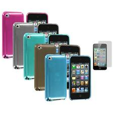 TPU Plain Rubber Jelly Case Cover+Screen Protector for iPod Touch 4th Gen 4G 4