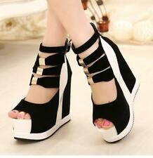 Womens Stylish Open toe Platform Wedge High heels Party Pumps Ankle Buckle Shoes