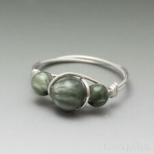Seraphinite Clinochlore Sterling Silver Wire Wrapped Bead Ring