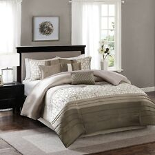 7pc Luxury Taupe Geometric Comforter  Set w/Bed Skirt Shams AND Pillows