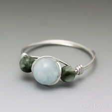 Aquamarine & Seraphinite Sterling Silver Wire Wrapped Bead Ring