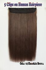 150g 16''~26'' 5Clips One Hairpieces Clip In Real Human Hair Extensions #4 Brown
