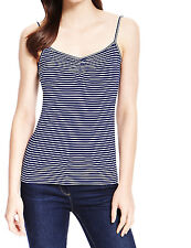 Ex Marks & Spencer Navy Blue & White Striped Camisole Top Size 10 - 22 RRP £9.50