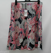 M&S Classic Collection Size 18  A-Line Pull On Skirt 27L Bnwt Navy Coral Mix