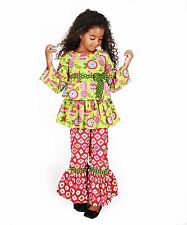 Jelly The Pug Green & Pink Nicola Top & Pants - Girls 3T, 6