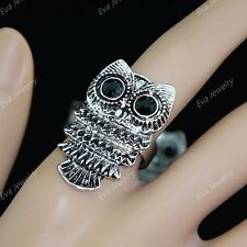 12pcs Rhinestone Retro Antique Silver Gold P Owl Rings Wholesale Vintage Jewelry