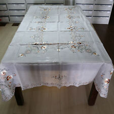 """T95 Hand Made Chiffon Embroidered Cut work Tablecloth + 12 Napkins 72"""" x 108"""""""