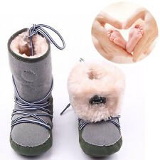 Baby Toddler Infant Girl Boy Snow Boots Soft Sole Crib Shoes 0-18 Months