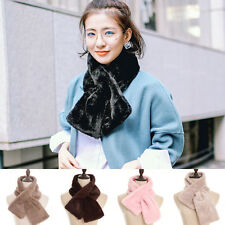 New Women Faux Angora Rabbit Fur Neck Long Scarf Collar Shawl Wrap Scarves Stole
