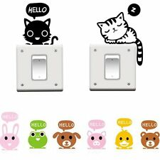 2PCS Removable Wall Stickers Cartoon Cat Dog Light Switch Art Home Decor Decals