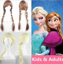Princess Elsa Anna Snow Queen Frozen Weaving Braid Cosplay Wig Kids Adults MP
