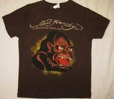 ED HARDY boys kids 4 5 brown gorilla monkey t-shirt tee top short sleeved NEW