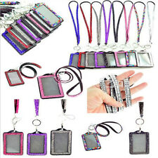 Rhinestone Bling Crystal Strap Lanyard + ID Badge Holder for Photo ID Cards