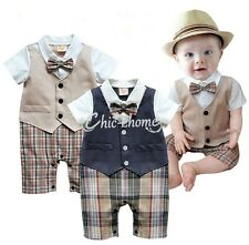 Toddler Baby Boy Dress Gentleman Romper Jumpsuit Bodysuit Kid Clothes Outfit