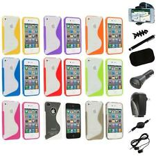 TPU Color Clear S-Shape S-Line Rubber Case Cover+8X Accessory for iPhone 4S 4G 4