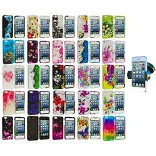 Flower Design Hard Rubberized Case Cover+Windshield Mount for iPhone 5 5S 5th
