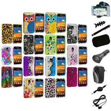 Design Hard Rubberized Case Cover+8X Accessory for Samsung Sprint Galaxy S2 S II