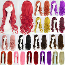 Long Synthetic Hair Full Wigs Curly Straight Wavy Lolita Anime Cosplay Party k5