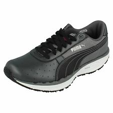 Ladies Puma Black/white/steel grey lace up trainers 185558 04