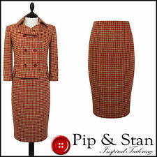 NEXT UK10 US6 PENCIL SKIRT SUIT RED TAN 50S VINTAGE STYLE WOMENS LADIES SIZE