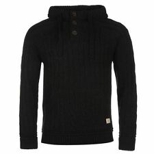 SoulCal Cable Knit Pullover Hoody Mens Navy/Black Hooded Sweatshirt Sweater