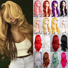 Ladies Fashion Hair Full Wigs Long Black Blonde Synthetic Wig Curly Straight d0s