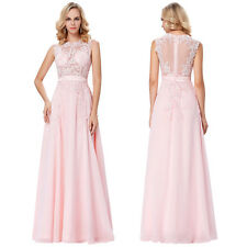 Long Appliques Formal Gown Ball Party Cocktail Evening Prom Wedding Dresses 4-18