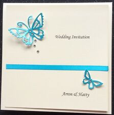 Wedding Invitation Sample Personalised Ivory Pearl Card Butterfly & crystals