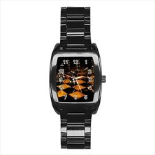 Chess Board Barrel Style Watch (Leather & Stainless Steel Straps)