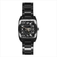 HR Giger Skull Barrel Style Watch (Leather & Stainless Steel Straps)