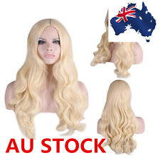 Lady Flaxen Blonde Long Wavy Curly Hair Anime Party Cosplay Wigs and Wig Cap