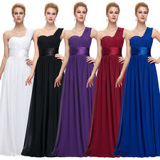 Formal Bridemaid One Shoulder Chiffon Ball Gown Prom Party Cocktail Long Dresses
