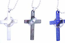 Unique Titanium Stainless Steel Cross Lord's Prayer and Halo Ring Necklace TBUS
