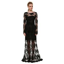 AN18 Women Sexy Long Sleeve Backless Lace Cocktail Evening Party Long Maxi Dress