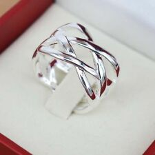 925 Silver Plated Ring Size 6 7 8 9 10 Gift Weave Rings Charm Jewelry New Gift