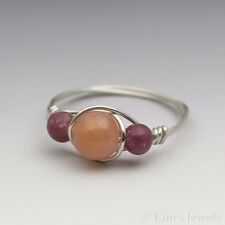 Sunstone & Lepidolite Sterling Silver Wire Wrapped Bead Ring