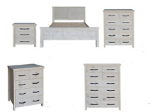 Queen Bedroom Suite Solid Timber - Brushed wash - Tallboy Options Available.