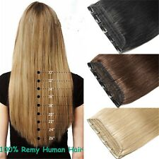 3/4 Half Head 5Clips One Hairpiece Virgin Remy Clip In Real Human Hair Extension