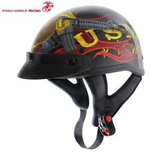 US Marine Corps DOT Shorty Half Motorcycle Helmet RED Flames USMC Veteran Vet